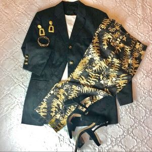 Talbots Blk and Tan stretch print ankle pants